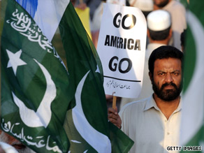 A member of an Islamic fundamentalist party protests the aid bill October 2 in Pakistan.