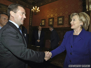 Russian President Dmitry Medvedev greets U.S. Secretary of State Hillary Clinton on Tuesday outside Moscow.