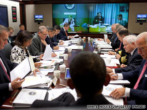 President Obama and his national security team meet in the White House Situation Room on Wednesday.