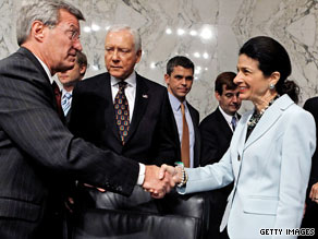 Senate Finance Committee Chairman Max Baucus and Maine Republican Sen. Olympia Snowe on Tuesday.