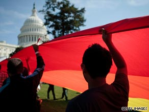 Gay rights activists march in Washington DC.