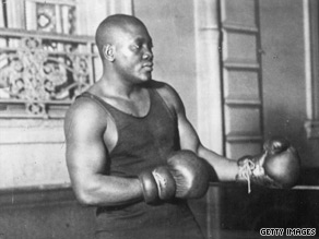"Jack Johnson's 1910 defeat of Jim Jeffries, the ""Great White Hope,"" sparked riots."