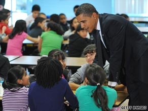 President Obama chats with students at a Silver Spring, Maryland, elementary school this week.