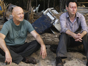 "Locke (Terry O'Quinn, left) and Ben (Michael Emerson) ponder the future and the past on ""Lost."""