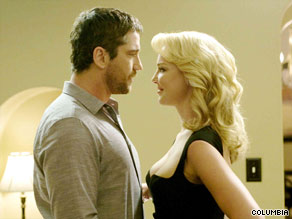 "Gerard Butler and Katherine Heigl face off in ""The Ugly Truth."""