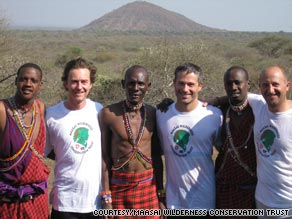 """Incredible Hulk"" star Edward Norton, second from left, has trained for a marathon with Maasai tribesmen in Kenya"