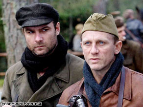 "Liev Schreiber, left, and Daniel Craig play Jewish resistance fighters in the World War II drama ""Defiance."""