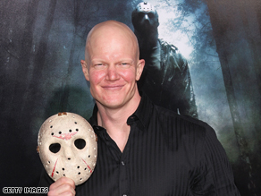"Derek Mears arrives on the red carpet at the Hollywood premiere of the new ""Friday the 13th"" movie."