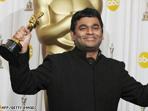 Composer A. R. Rahman, 'The Mozart of Madras,' celebrates his double Oscar win -- for Best Score and one for the song 'Jai Ho' from the film.