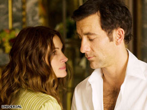 "Julia Roberts and Clive Owen play cat-and-mouse games in ""Duplicity."""