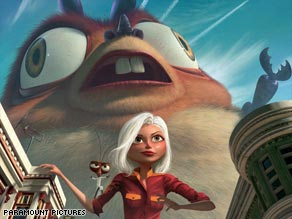 """Monsters vs. Aliens"" star Reese Witherspoon poses with one of the film's characters, B.O.B, who is voiced by Seth Rogen."