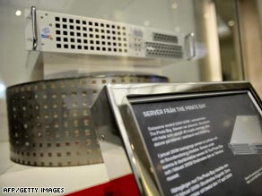A Pirate Bay server, confiscated by police last year, on display in Stockholm's Technical Museum.