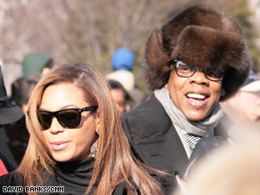 Beyonce and husband Jay-Z attend Barack Obama's inauguration in Washington in January.