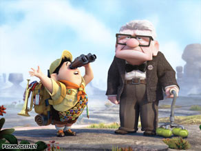"An adventurous boy and a cranky man travel by unusual means in the new Pixar film ""Up."""