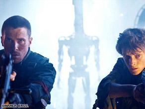 "Christian Bale, left, and Anton Yelchin battle the machines in ""Terminator Salvation."""