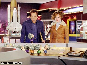"Ben Stiller and Amy Adams size up a bobble-head Albert Einstein in the ""Night at the Museum"" sequel."