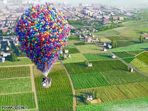 "An elderly balloon salesman uproots his house with the help of thousands of balloons in ""Up."""