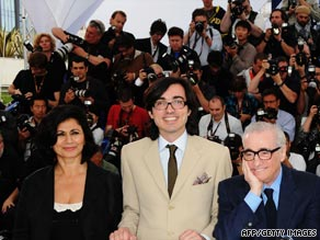 The Auteurs mastermind Efe Cakarel (center) at Cannes with Celluloid Dreams' Hengameh Panahi (left) and Martin Scorsese.