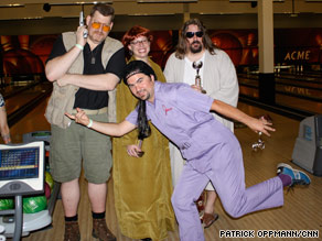 "Fans dressed as the ""nihilists"" from the movie ""The Big Lebowski"" draw attention at the fest."