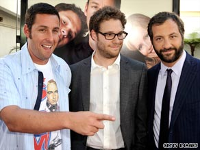 Sandler plays a successful but lonely comedian in the film; Rogen is his assistant.