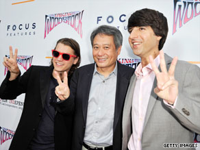"From left, ""Taking Woodstock's"" Emile Hirsch, director Ang Lee and Demetri Martin at the movie's premiere."