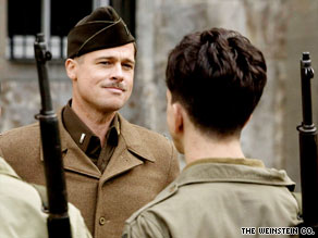 "Brad Pitt leads a unit of brutal Allied soldiers in ""Inglourious Basterds."""
