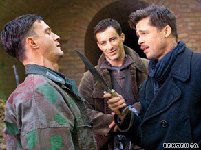 """Inglourious Basterds,"" a revisionist take on WWII starring Brad Pitt, grossed an estimated $37.6 million."