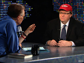 Filmmaker Michael Moore says Wall Street created a &quot;invisible virtual casino&quot; with people's money.