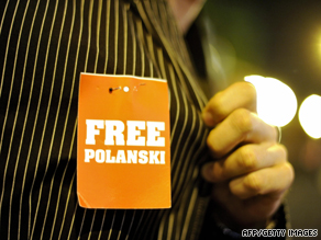 "A supporter displays a ""free Polanski"" tag on his shirt during the Zurich Film Festival."