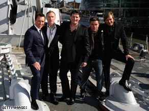Spandau Ballet, pictured aboard HMS Belfast, on Wednesday.