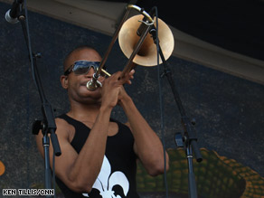 "Troy ""Trombone Shorty"" Andrews performs on the Gentilly stage at the New Orleans Jazz Festival."