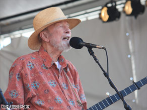 Pete Seeger performs on the Acura stage at the New Orleans Jazz and Heritage Festival.