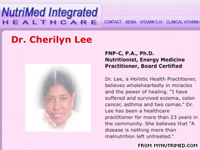 Cherilyn Lee is a holisitic health practitioner and has been in  healthcare for 23 years, her Web site states.