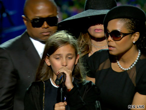 Paris Katherine Jackson, 11, said goodbye to her father at the close of the memorial service.