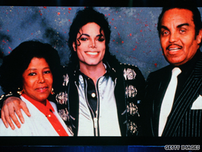 An image of Michael Jackson and his parents was on the big screen during his funeral in Los Angeles.