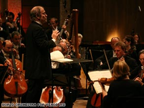 Valery Gergiev conducts the World Orchestra for Peace in Jerusalem, October 19, 2008.