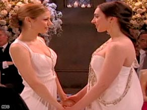 "Actresses Tamara Braun and Eden Riegel take part in the wedding as depicted on ABC's ""All My Children."""