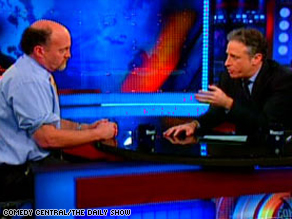"Many declared Jon Stewart, right, the victor in his face-to-face with Jim Cramer on ""The Daily Show."""