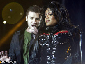 "Justin Timberlake and Janet Jackson perform at the Super Bowl just before the infamous ""wardrobe malfunction."""