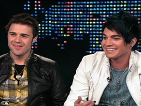 "Kris Allen, left, defeated Adam Lambert, right, in the ""American Idol"" finale."