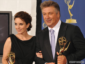 """Tina Fey and Alec Baldwin hold their Emmys for """"30 Rock,"""" which won best comedy series."""
