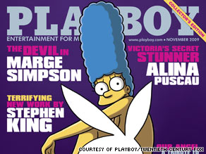 Marge Simpson will appear in the November issue of Playboy as the magazine's first cartoon cover model.