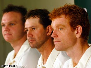 Australia captain Ricky Ponting (center) with Test debutants Doug Bollinger (left) and Andrew McDonald.