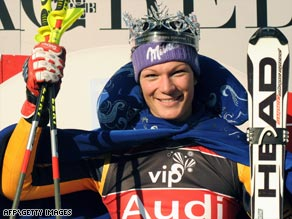 Snow queen: Riesch is crowned after completing a World Cup slalom hat-trick with victory in Zagreb.