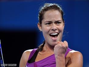 Ana Ivanovic celebrates her victory over qualifier Roberta Vinci in Brisbane.