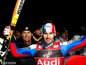 France's Grange celebrates his superb victory in the night slalom in Zagreg.