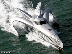 For sale: The green powerboat Earthrace is on the market for $1.5 million.