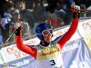 Austrian Raich celebrates his third victory on the tricky Adelboden piste  in four years