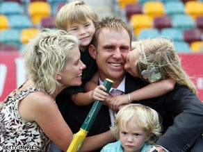 Hayden is supported by wife Kellie, sons Joshua and Thomas and daughter Grace after quitting cricket.