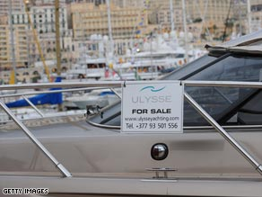 One of many large yachts for sale in Monaco.